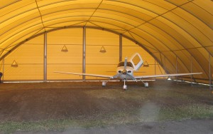 Hangars for light aircraft to protect against hail and UV damage