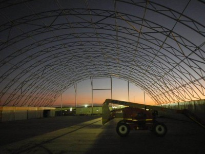 A dawn start for fabric structure installation at Leighton Construction