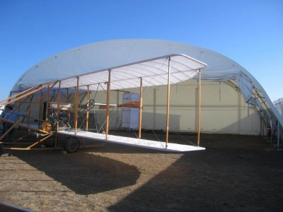 Hangars for all types of planes - including the Wright Bros model