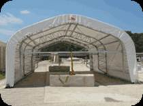 Decontamination structures can be build in a range of sizes and moved on wheels or with a crane