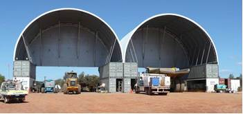 Mining workshops installed in Kalgoorlie 15m apex, 18m wide, 12m deep for Alliance Contracting.