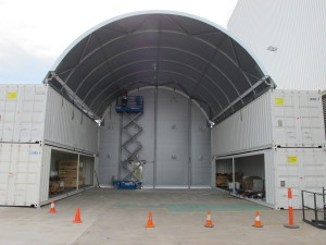 Container mounted fabric structures, double decked containers.