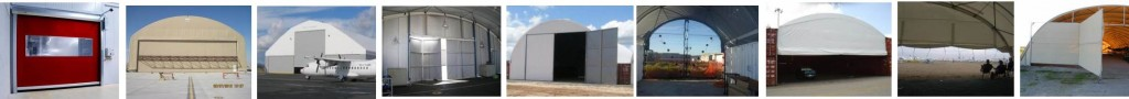 Some of the range of Taurus Fabric Build doors for fabric structures.