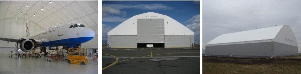 Fabric structures make excellent hangars for commercial aviation.