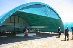 Hangar with a partial end wall