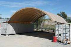12m x 12m container mounted fabric structure with extended flaps