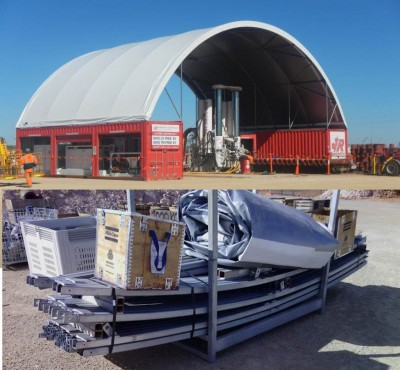 The other side of fabric structure installation, packing the structure up at the end of the job.