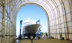 Dry dock fabric cover and galvanise steel are resistant to the corrosive environments of marine yards.