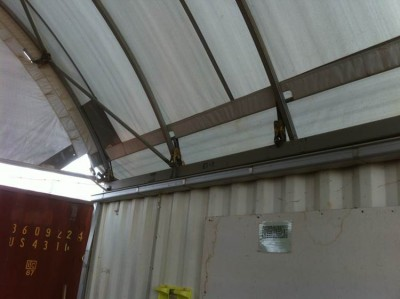 Commercial spouting can be used for gutters for fabric structures mounted internally.