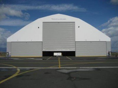 Large fabric to the ground structures make cost effective hangars and warehouses.