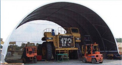 Mobile fabric structures make ideal large moveable maintenance facilities 16m wide 12m deep 9m apex