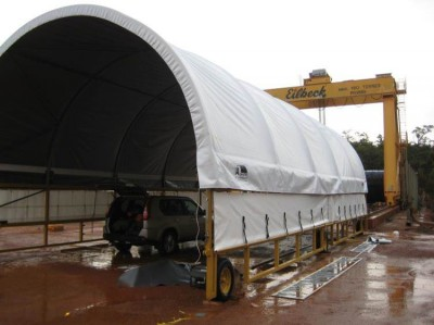 One of two mobile fabric structures being installed for conveyor belt repairs Boddington WA