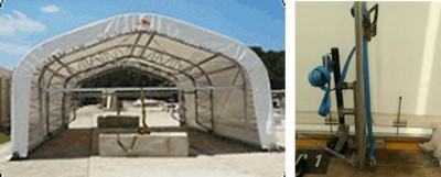 Mobile fabric structures with wind down wheels for using on concrete pads.