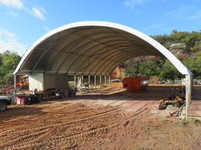 Post mounted fabric structure